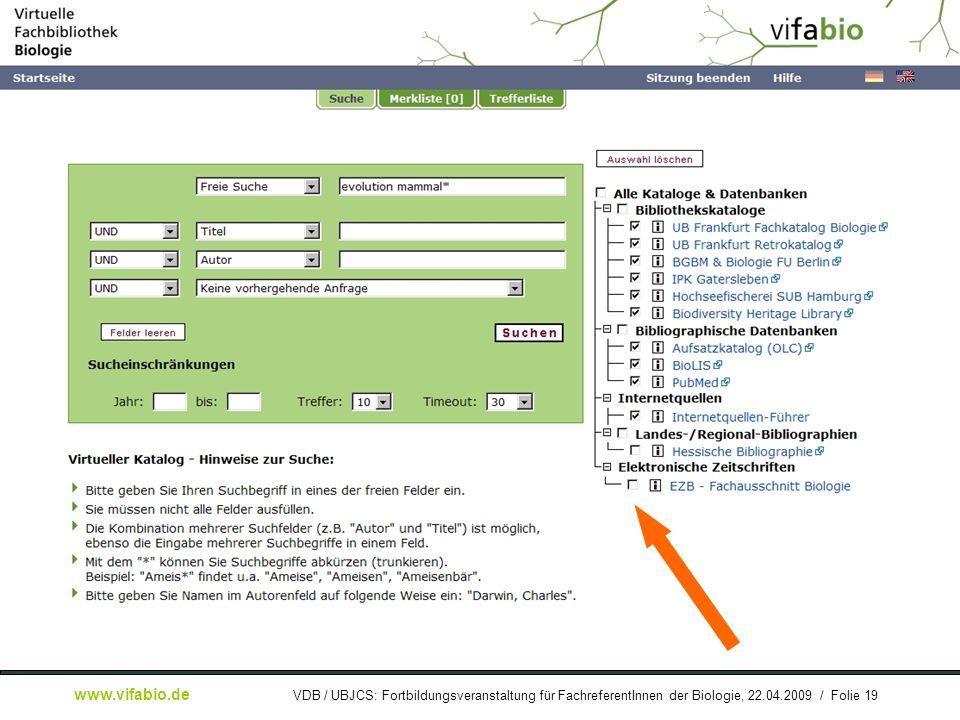 [ Bildschirmfoto: ] VKB-Suchmaske (erweitert)